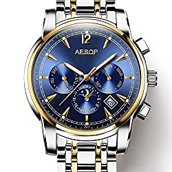 Mens Automatic Mechanical Watch Gold And Silver Stainless Steel Multifunction waterproof Blue Watches