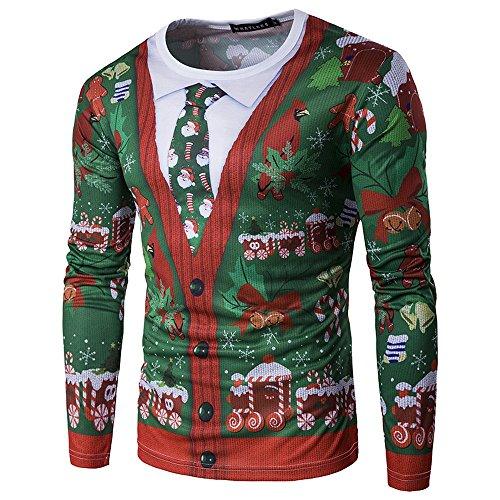 *Vertvie Herren Langarmshirt Weihnachtspullover Sweatshirts Strickpullover Rundhals Pulli mit 3D Weihnachtsbaum Druck (XL, Grün)*