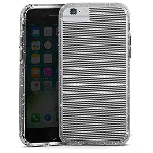 Apple iPhone 6 Bumper Hülle Bumper Case Glitzer Hülle Illusion Muster Pattern Bumper Case Glitzer silber