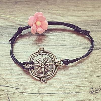 Bracelet Boussole en Noir Argent Ajustable, vintage / ethno / hippie / must-have / statement / bijoux florabella