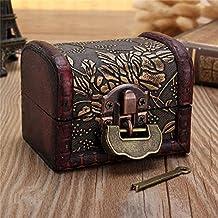 fomccu Lock caja de almacenamiento de madera caja con forma de tesoro joyería anillo regalo funda estilo Vintage 8cmx6cmx6cm