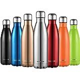 CMXING Bottiglia Termica, 500ml/ 750ml Doppia Parete Borraccia Acciaio Inox, Non Tossico BPA Gratuito Sport Borracce Bottigli