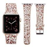 Apple Watch Armband 42mm, MEFEO Leder iWatch Band Extrem Deluxe Glänzend Luxus Glitzer Diamant Leder Armband für Apple Watch Series 1, Series 2, Series 3 Sport Edition (Kupfer-42mm)