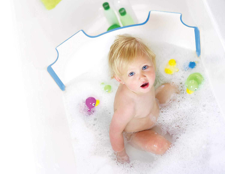 ** New ** BabyDam Bathwater Barrier | Baby Bath Tub | Converts A Standard Bath to A Baby Bath (White|Blue)...