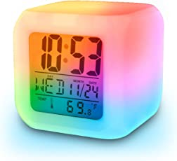 Inditradition Glowing Led Table Alarm Clock - Digital Display Of Time & Temperature - Battery Operated, White