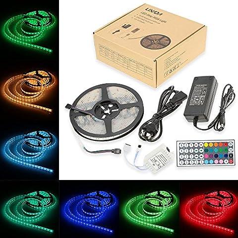 Lixada ruban led RGB étanche IP68 300LEDs 5 Mètres / 16.4ft Flexible bandeau led bande SMD5050 DC 12V 12W / mètre avec Télécommande de 44 touches pour le Festival Décoration Célébration