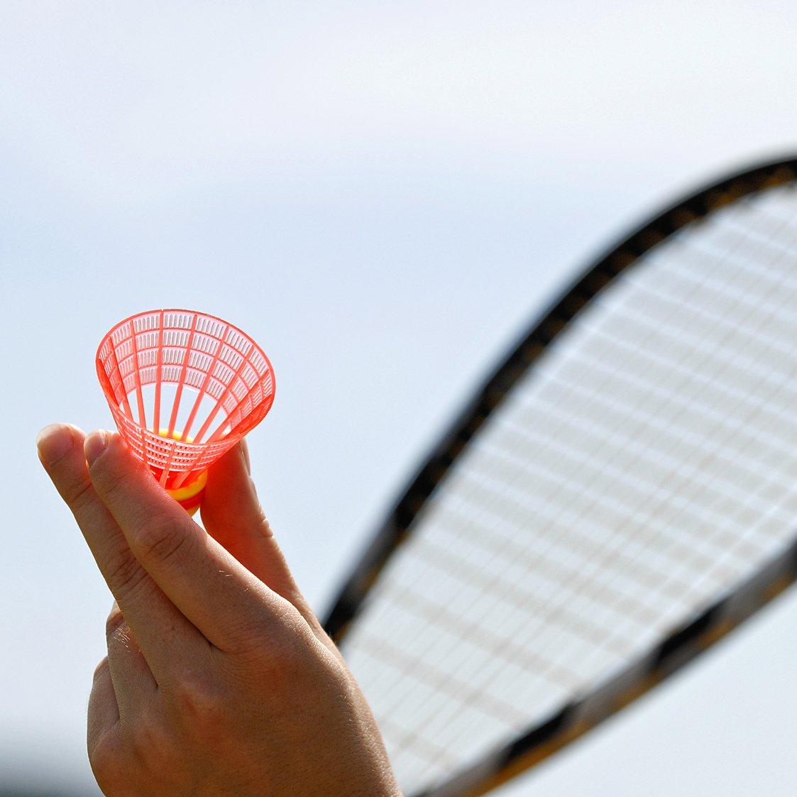 Turbo Badminton Set 2 Schl/äger mit 5 Federb/ällen Federball Badminton
