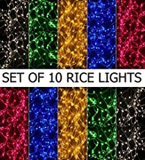 Prop It up Rice Lights Serial PVC Bulbs Decoration Lighting -(Multicolour, 4-5m) - Pack of 10