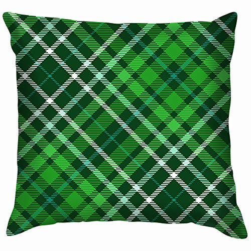 beautiful& Plaid Check Dark Green Forest Pillow Case Throw Pillow Cover Square Cushion Cover 18X18 Inch -