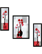 SAF UV Textured Flower Print Framed Painting Set of 3 for Home Decoration – Size 35 x 2 x 50 cm