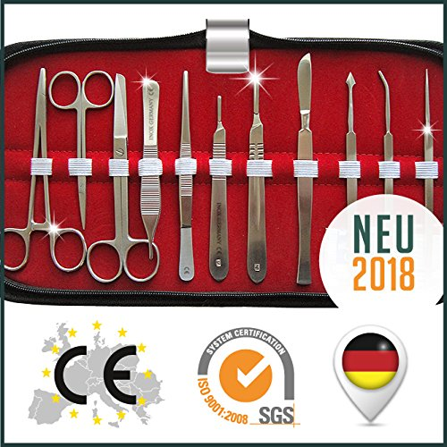 Großes Basis Präparierbesteck - MedEtui BDS2010 | Chirurgisches Nahtbesteck | Sezierbesteck Präparierset | Anatomie Set
