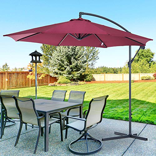 Outsunny 3 m Garden Patio Parasol Sun Shade Banana Hanging Rattan Set Umbrella Cantilever - Red Wine