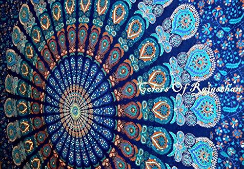 Handicrunch COR mehrfarbige Mandala Tapestry Indian Wandbehang, Bettlaken, Bettdecke Picknick Strand Blatt, Qualität- Hippie Wandteppiche oder Tagesdecke in Organic Cotton Tree of Life 95 x 85 Inches (Qualität Bett-blatt)