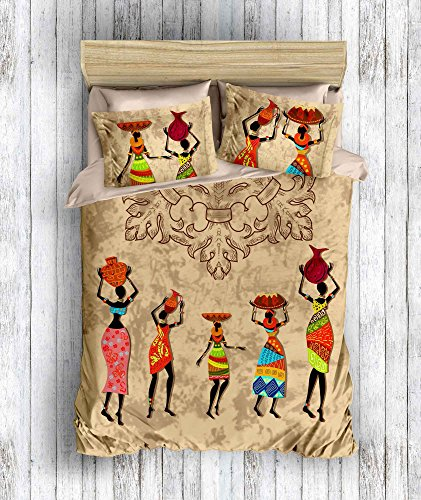 DecoMood 3D Bedruckte 100% Baumwolle Bettwäsche-Set, afrikanischen Concept Design Traditionelle Afrikanische Frauen Motto, Full/Queen Size Bettdecke/Bettbezug Set, Hellbraun Full/Queen Size braun (Afrikanische Tröster)