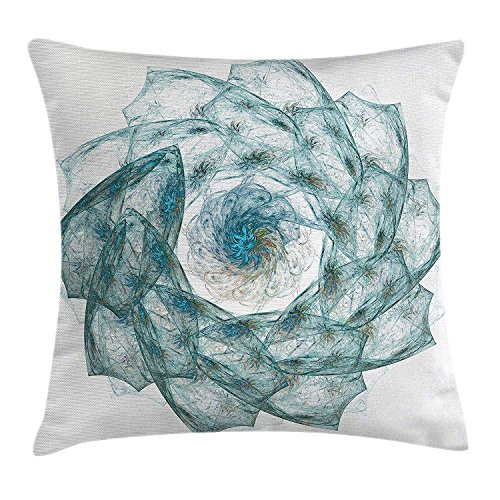 Spires Decor Throw Pillow Cushion Cover by, Flower Shaped Spiral Digital Vortex Pattern with Hazy Colored Elements Art Image, Decorative Square Accent Pillow Case,Teal 16x16in