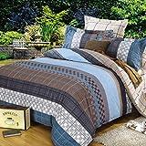 Weimilon Baumwolle Bettbezug Vier Jahreszeiten,Gitter,Gestreift,Einzigen,Student,Individuell,Double A Casual Chic 200X230Cm(79X91Inch) (Color : U, Size : 150x215Cm)
