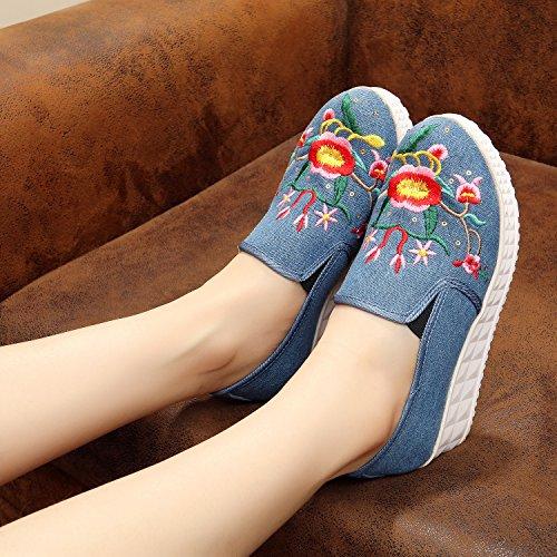 &hua Chaussures brodées, lin, semelle de tendon, style ethnique, féminine, mode, confortable, fond épais une pédale denim blue