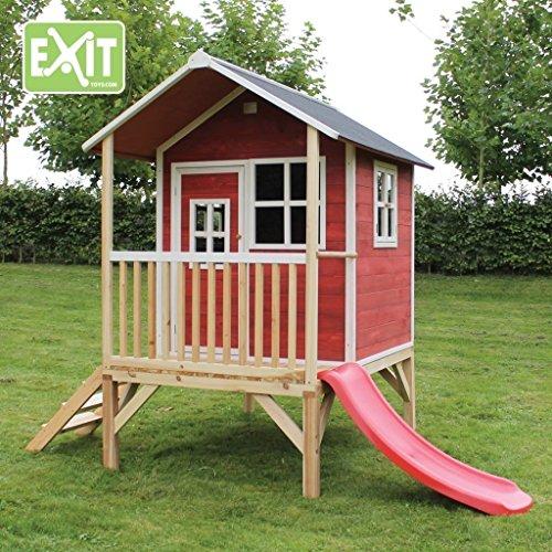 EXIT Loft 300 Red / Spielhäuschen auf Stelzen mit Veranda + Rutsche / Material: Zedernholz / Maße:...