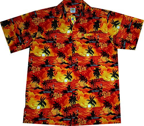 "Hawaiihemd/Hawaii Hemd ""Caribbean Sunset (Orange)""/Größe S – 6XL/Orange/mit Brusttasche/Strand/Sonnenuntergang/100% Terivoile (Sonnenuntergang Hawaii-shirt)"