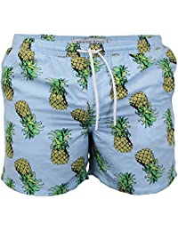 Brave Soul Mens Swimming Shorts Pineapple Print Beach Trunks Mesh Lined Summer