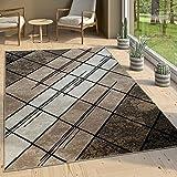 Paco Home Designer Wohnzimmer Teppich Modern Kurzflor Geometrische Muster Braun Beige Creme, Grösse:200x280 cm