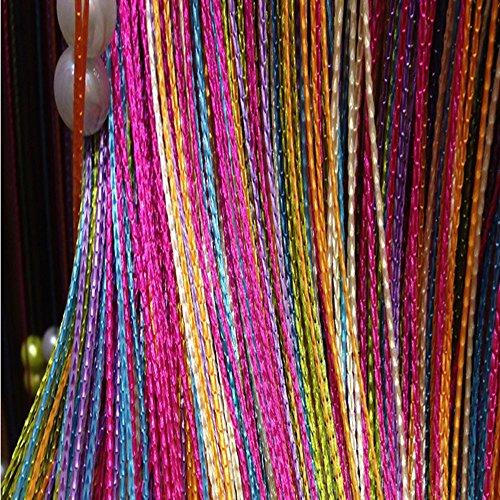 CGBBOM Retro Fadenvorhang Insektenschutz Türvorhang 200 x 100cm Trennwand Fenster Vorhang Dekorative Gardine Raumteiler Fliegenschutz für Hochzeit, Café, Restaurant (Rainbow)