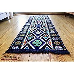 200 cm x 70 cm Alfombra Oriental, Kelim, Kilim, Carpet,Manta al Suelo , Rug nuevo de Damaskunst S 1-3-40