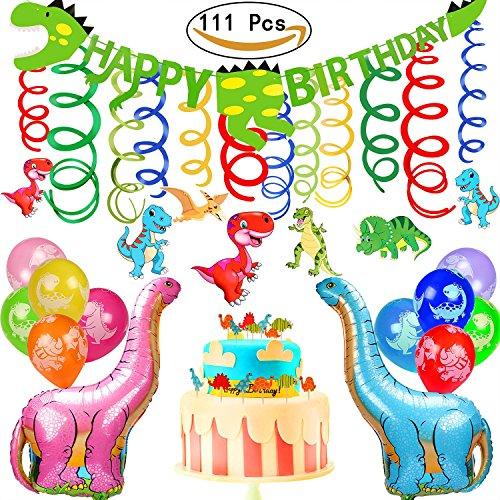 saurier Alles Gute Zum Geburtstag Banner Ballons und Kuchen Fahnen Dekoration für Dinosaurier Party Supplies und Dinosaurier Party Dekorationen (Bis Party Supplies)