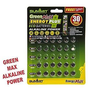 1x 30-Alkaline Button/Coin/Armbanduhr Zelle Eco Batterien grün max Saver Pack
