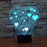 LEDMOMO Lámpara de Ilusión 3D de Corazón Luz de Mesa Contro Remoto Decoración de Hogar Regalo del Día de San Valentín