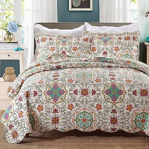 Beddingleer Tagesdecke Patchwork Baumwolle Tagesdecken Bettüberwurf Gesteppt 230 x 250 cm 3-teilig für Doppelbett Sofa im Marokko Stil -