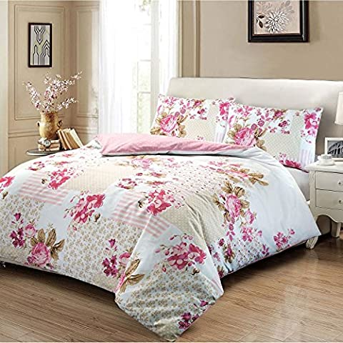 Elegant Patchwork Style Rose Floral 100% Cotton Printed Quilt Duvet Cover & Pillowcases Set - Light Pink -