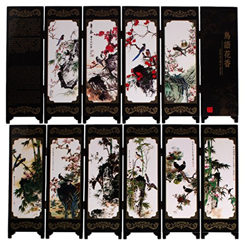Larcele Piccolo schermo pieghevole in legno Art Byobu FGPF-01 (Uccello)
