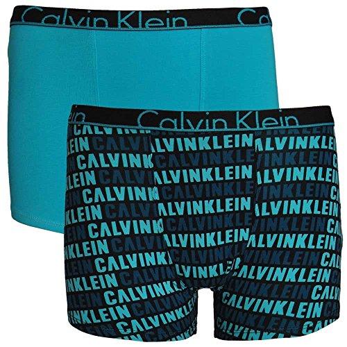 Calvin Klein Boys 2 pack Modern Cotton Boxer Trunks - Scuba Blue/Logo Print Age 12-14 (Logo-print Trunk)