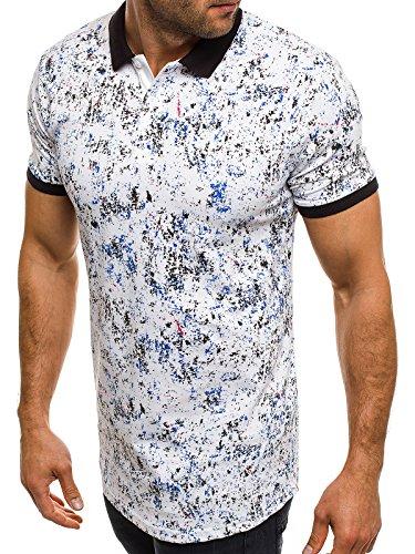 OZONEE Herren Herren Poloshirt Polohemd Polo T-Shirt Kurzarm Figurbetont MADMEXT 1940P Weiß