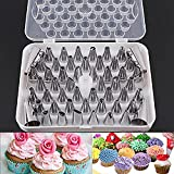 #9: Kurtzy Stainless Steel Cake Icing Nozzles For Decorating Cupcake Pastries Desserts Tarts Pie Set Of 52 Assorted