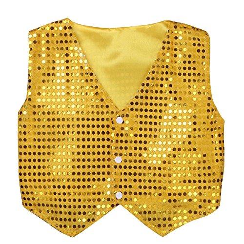 MSemis Unisex Kinder Jungen Mädchen Pailletten Weste Anzug Westen Glitzer Jazz Tanzbekleidung Performance Jacke mit Blingbling Effekt Gr. 122-164 Gold 140-152/10-12Jahre