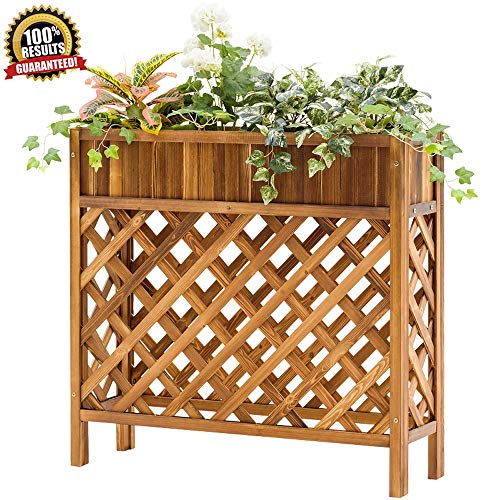 MUHONG Massivholz Flower Stand Pflanze Bonsai Display Stand Grid Design-Innen Balkon Garten Blumentopf Dekoration Blumenständer (95Cmx90cmx30cm),A,95cmX90cmX30cm