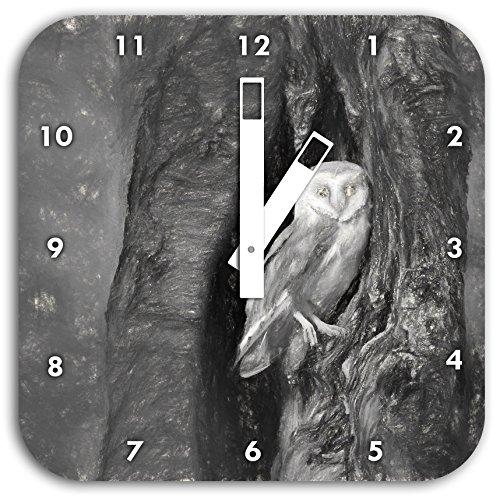 Schleiereule in der Baumhöhle Kunst Kohle Effekt, Wanduhr Durchmesser 28cm mit schwarzen eckigen Zeigern und Ziffernblatt, Dekoartikel, Designuhr, Aluverbund sehr schön für...
