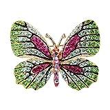 TENYE Dame österreichisch Kristall Emaille Elegant Schmetterling Insekt Brosche Gruen Gold-Ton