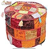 Indische handgefertigte Tribal Patchwork Pouf decken osmanischen sitzen Kissen werfen Boden Kissen Kissen decken sitzen Stuhl Fuß Hocker für Wohnzimmer böhmischen Hocker Ottoman Cover