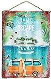 Retro Blechschild gewellt Summer Escape USA Nostalgie Metallschild Shabby Chic 28.5x40cm