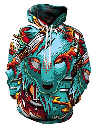 KamiraCoco Unisex 3D Digital Druck Bunte Kapuzenpullover Hoodie Langarm Damen Und Herren Cartoon Weihnachten Sweatshirt Pullover (L / XL (Brustumfang: 112-132CM), Dream Wolf-1) (Sweatshirt Hoody Dream)