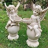 Aifeer - Set di 2 portacandele a Forma di Angeli di cherubini, in Resina Anticata, Statuetta da Giardino, Adorabile Angelo per Interni ed Esterni Art déco Coppia di Angoli con Candeliere