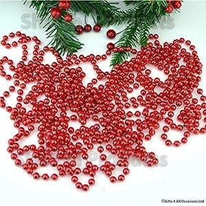 Gifts 4 All Occasions Limited SHATCHI-400 - Guirnalda de cuentas para colgar (61 cm), color rojo