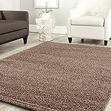 Teppich-Home Star Shaggy Teppich Farbe Hochflor Langflor Teppiche Modern für Wohnzimmer Schlafzimmer Uni Farben, Maße:160x220 cm, Farbe:Nougat