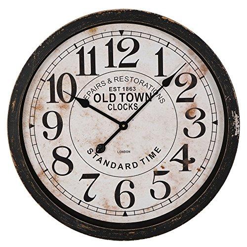 BHP Retro Wand Uhr MDF schwarz weiß Durchmesser 60 cm Ziffern Zeiger Zeit Anzeige B990979