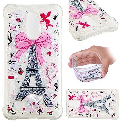 LuckyW LG K8 2017 Hülle Flüssig, TPU Silikon Handyhülle für LG K8 2017 Glitter Glitzer Liquid Flüssigkeit Schwimmend Treibsand Kristall Tasche - Eiffelturm (Kristall Eiffelturm)
