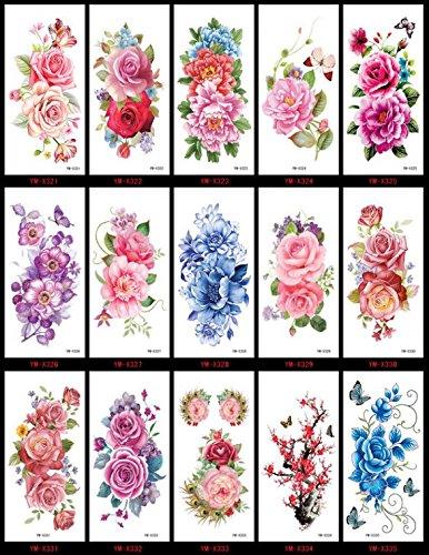 Grashine lungo e realistico temp tattoo stickers 15pcs fiori colorati tatuaggi finti in un imballaggio, tra cui farfalle, rose, peonia, ecc.