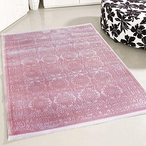 mynes Home Teppich Gemustert Modern Designer Vintage in Rosa Wohnzimmer Teppiche hochwertig und luxuriös Kurzflor mit 3D Optik (200 x 290 cm)
